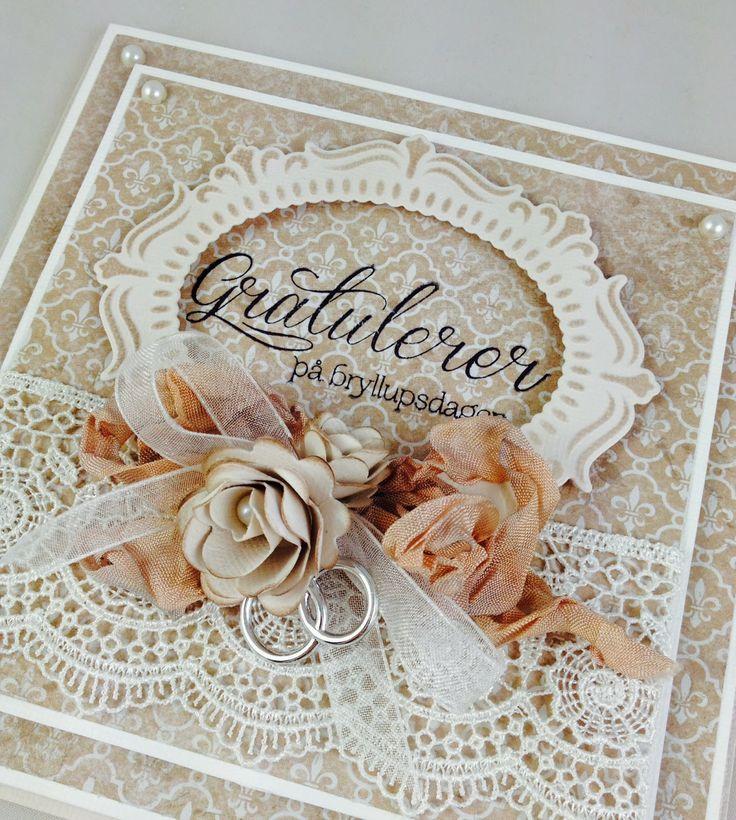 Cam-Cams scrappehjørne: Hug Snug - eller seambinding - trinn-for-trinn. Wedding card. Bryllupskort.