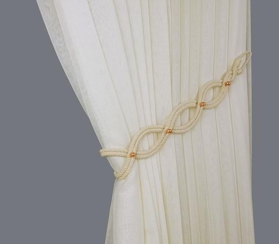 Rope Curtain Tie Back White Tie Back Peach Beads Curtain Etsy