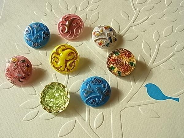 ヴィンテージ チェコガラスボタン 8個アソートセット ハンドメイド インテリア 雑貨 Handmade button ¥1000yen 〆04月28日
