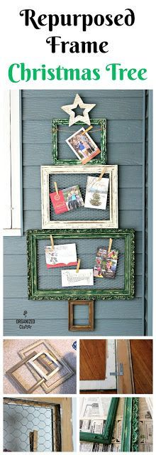 Thrift Shop Picture Frame Christmas Tree  #frameideas #thriftshopmakeover #repurposed #repurpose #alternativeChristmastree #Christmascarddisplay #chickenwire #rusticChristmas
