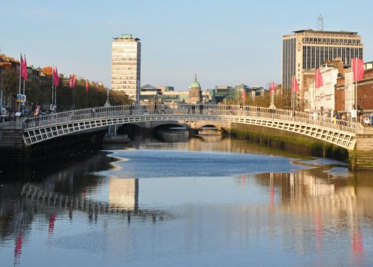 Pink banners along the River Liffey.