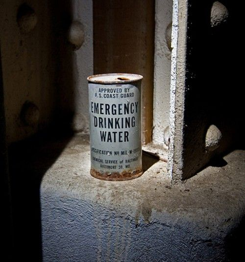 Emergency drinking water for a fallout shelter.