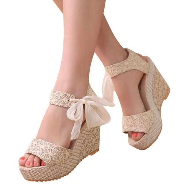 HEE GRAND Floral Wedges Sandals Summer Platform Gladiator Sandals 2017 NEW Woman Casual Ankle Strap High Heels XWZ2019