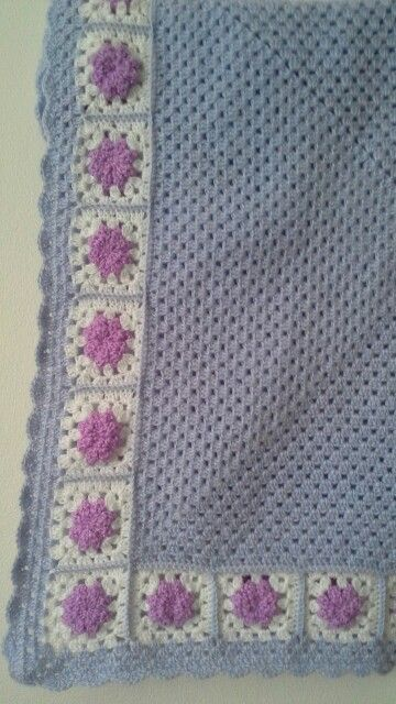 Square baby blanket with flowers