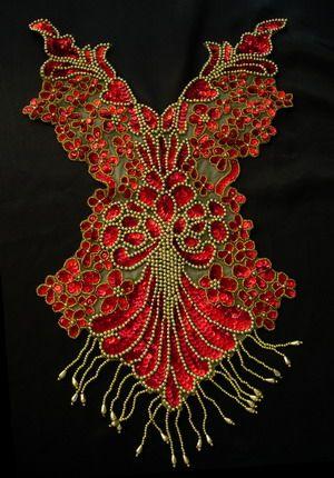Beaded fringe | BD08-6 Pretty Bodice Sequin Bead Applique Fringe Red