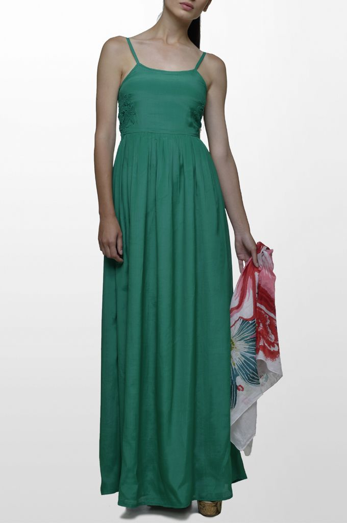 Sarah Lawrence - maxi dress with embroidery, printed scarf.
