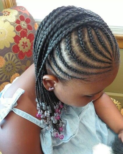 Cornrow mohawk with beads