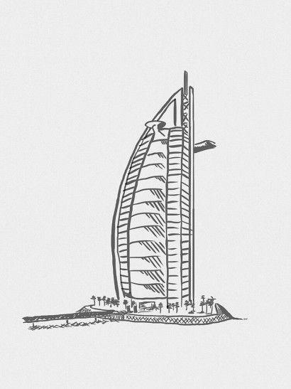 Hotel Burj Al Arab Minimalista - On The Wall | Crie seu quadro com essa imagem https://www.onthewall.com.br/design-by-on-the-wall/minimalista/hotel-burj-al-arab-minimalista #quadro #canvas #moldura #dubai #minimalista