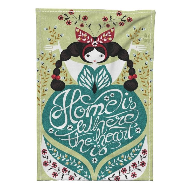 Special Edition Spoonflower Tea Towel featuring home-heart by gaiamarfurt | Roostery Home Decor