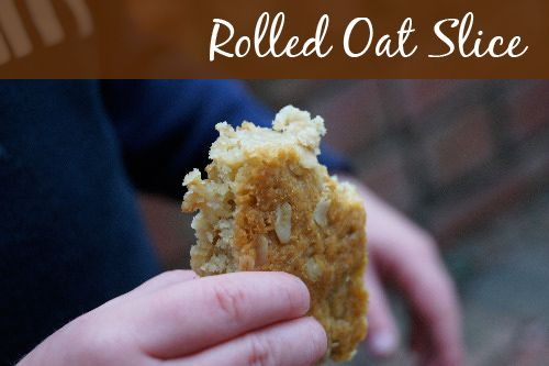 Rolled-Oat-Slice - rolled oats, coconut, flour, brown sugar, butter, golden syrup, water, baking soda