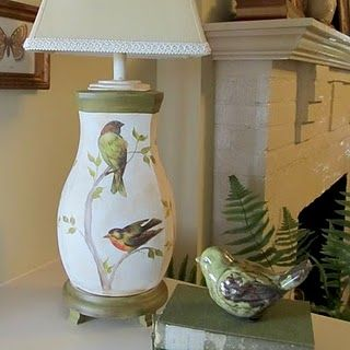 Thrift store lamp makeover using Graphic Fairy birds.