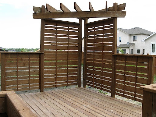 """Privacy screen for a deck, until the trees grow. I'm thinking 1""""x4"""" and some 1""""X1"""" wide More"""