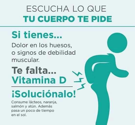 Si tienes dolor de huesos  o signos de debilidad muscular... Te falta Vitamina D
