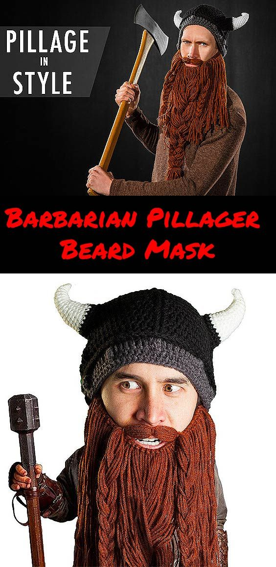 You don't have to be a violent brute to wear the Barbarian Pillager Beard hat.