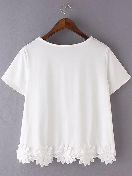 White Short Sleeve Flowers Hem Casual T-shirt