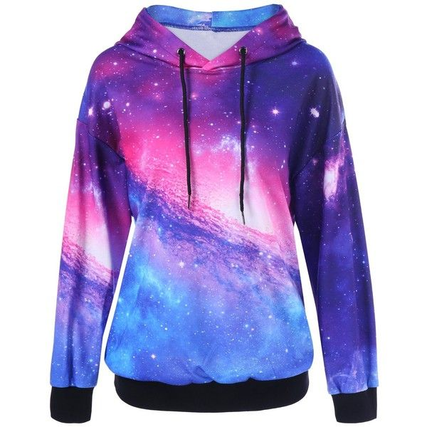 Galaxy Drop Shoulder Hoodie ($19) ❤ liked on Polyvore featuring tops, hoodies, jackets, outerwear, shirts, galaxy top, galaxy print hoodie, hooded sweatshirt, blue hoodie and galaxy hoodie