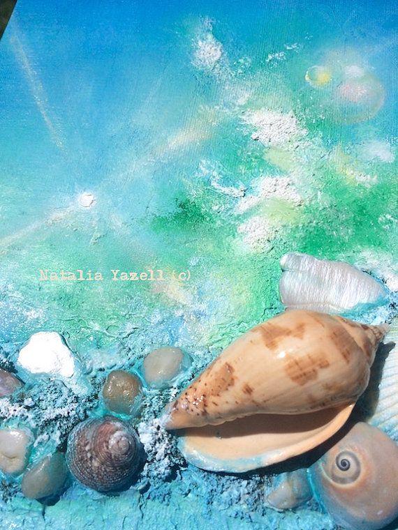 Sol salpica 8 x 10 en pintura acrílico mixta por TerraArtGallery
