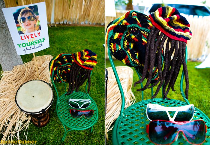 """""""Lively Up yourself"""" photo booth props, turning three, 3rd birthday party, reggae, three birds bob marley theme. Event styling, invitations, and photography by Jackie Culmer Photography. www.jackieculmer.com, © Jackie Culmer Photography"""