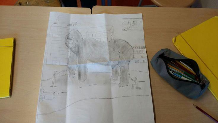 Hier heb ik er een stad bij getekend zodat het een aap is die is ontsnapt, ik heb er geen schetsen van.