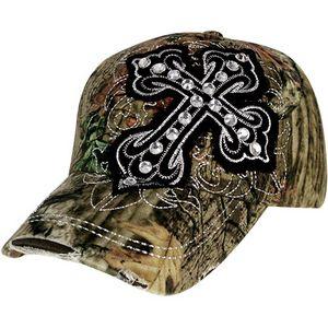 $8.00 Distressed Mossy Oak® Crystal Black Cross Baseball Cap