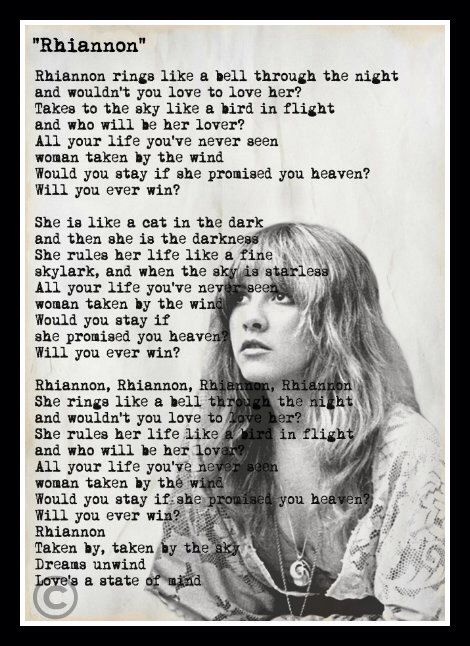 Custom Stevie Nicks Fleetwood Mac Rhiannon Lyrics Minimalist Art Print by vintagemystic on Etsy https://www.etsy.com/listing/234830834/custom-stevie-nicks-fleetwood-mac