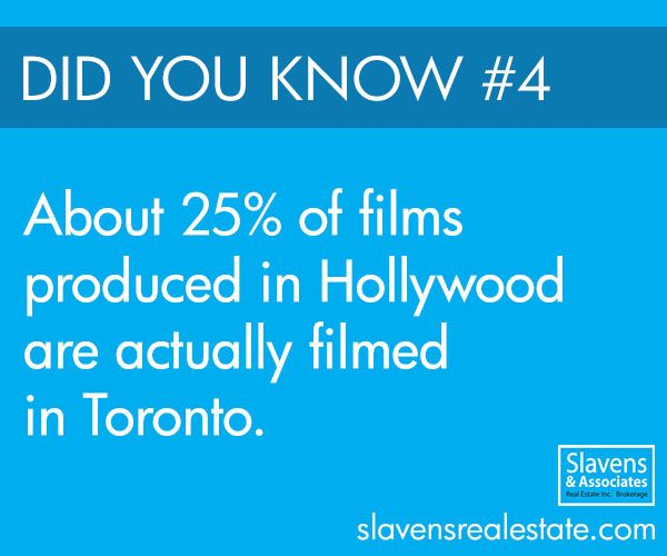 A quarter of all films produced in Hollywood are actually filmed in Toronto! The Toronto area is one of the largest film and TV production centres in all of Canada. Pinewood Toronto Studios, located on Commissioners Street, is the largest of its kind in the country, and is able to handle large-scale film productions.
