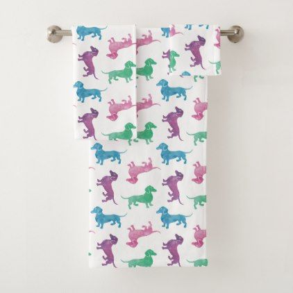 Raining Dachshunds Watercolor Pattern Bath Towel Set - dog puppy dogs doggy pup hound love pet best friend