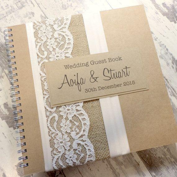 Rustic Kraft Wedding Guest Book Scrapbook by ThePaperBirdCompany
