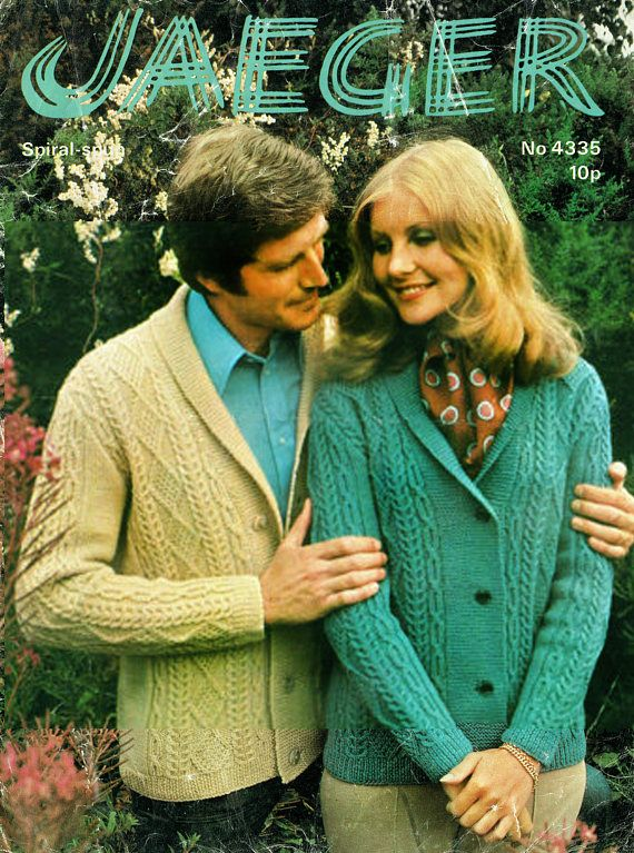 Pdf Vintage 1970s Womens ARAN 'His & Her' Shawl Collar