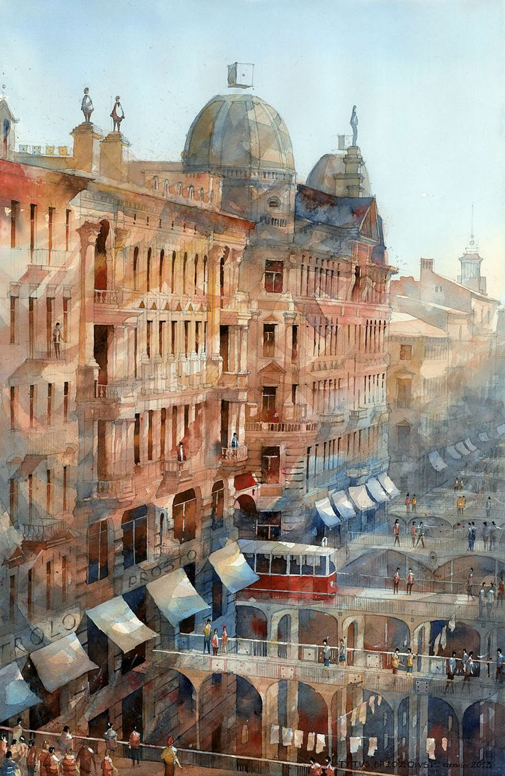 Watercolor artists directory wiki - Dreamlike Architectural Watercolors By Tytus Brzozowski