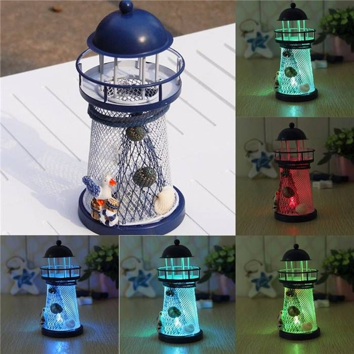 Mediterranean Iron Lighthouse Craft Ornaments Ocean Home Decor LED Candle Light Caldleholder - Banggood Mobile