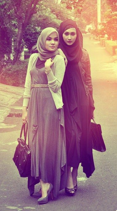 Long dresses, cardigans, and hijabs.