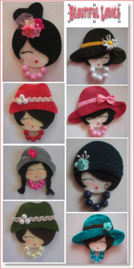 Adorable idea, felt ladies' heads. This site suggests making them the size of CDs and adding a pocket on the back for secrets, messages or special items.