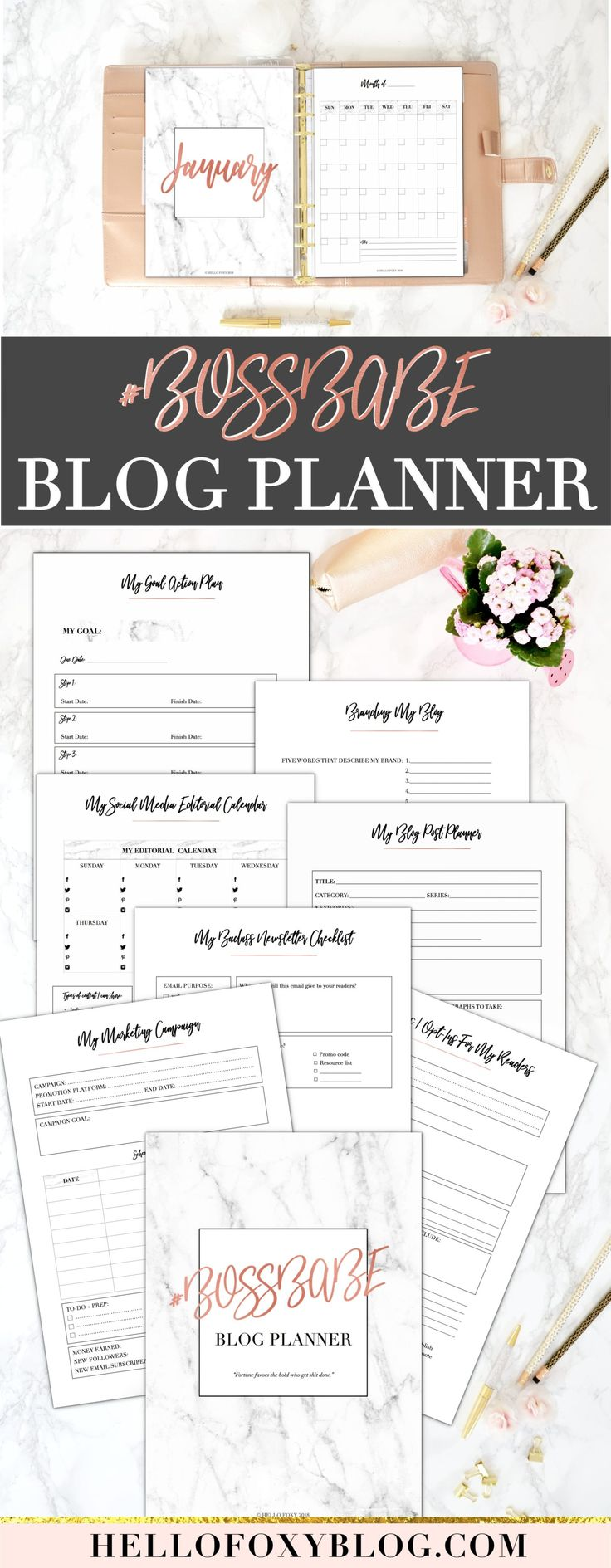 Chic, Badass, Comprehensive and Valuable: those are the four words that resonated through my mind the whole time I was creating the #BOSSBABE Blog Planner. It's more than a simple planner actually, it's a WHOLE TOOLKIT that contains everything you need to accomplish your goals. Its numerous worksheets will help you create awesome content for your blog, social media, email newsletters, and more.