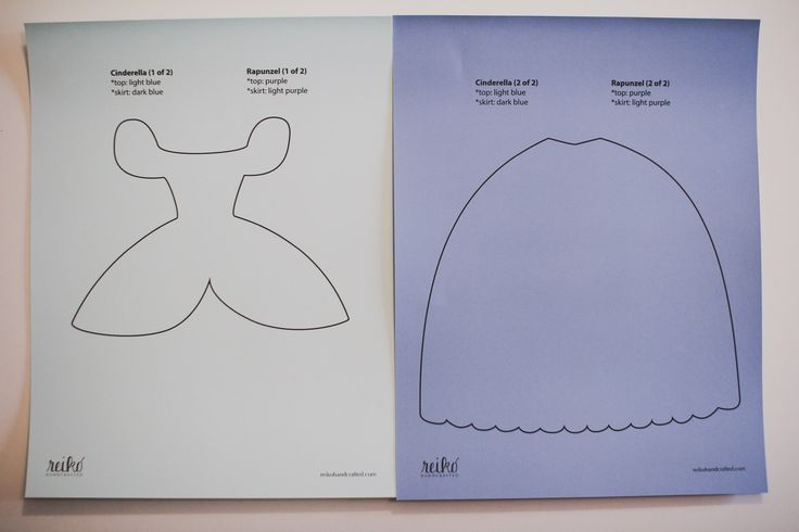 8.5 x 11 inch paper dress template for Cinderella from Disney's Cinderella, Rapunzel from Disney's Tangled, Sofia the First