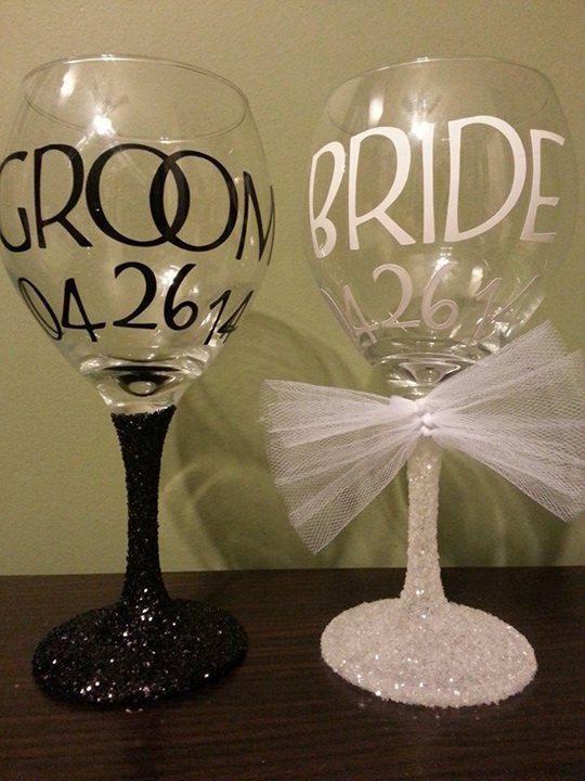 Hey, I found this really awesome Etsy listing at https://www.etsy.com/listing/184150186/bride-groom-glitter-stem-wedding-wine