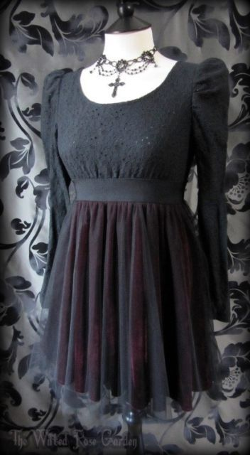 Gorgeous Gothic Black Lace Puff Shoulder Red Velvet Net Tutu Skater Dress 8 10 | THE WILTED ROSE GARDEN on eBay // Worldwide Shipping Available