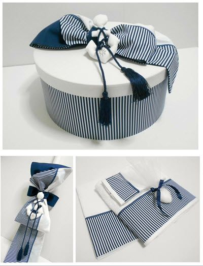 Christening Set Nautical Christening Box - Round Size - 44x20 cm Navy/White Stripe base with plain white lid - Cotton Fabrics
