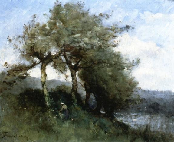 Paysage avec femme, huile sur toile de Paul Désiré Trouillebert (1829-1900, France)