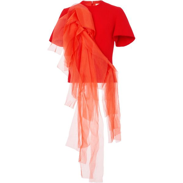 Patricia Padrón Kalena Top (2,075 CAD) ❤ liked on Polyvore featuring tops, orange, shirred top, red ruched top, ruched top, red top and short sleeve tops