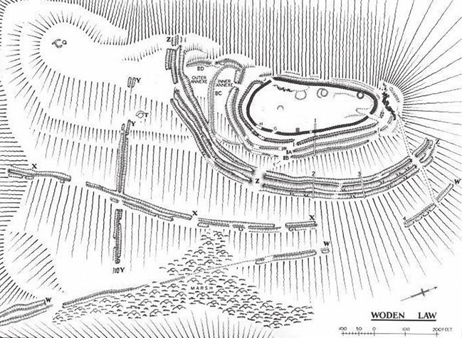 The Scottish Border hill-fort of Woden Law, Roxburgh originally consisted of a single stone bank and ditch, sited on the edge of a precipitous slope. During the 1st century AD an additional perimeter of two banks and corresponding ditches were added to the fortification.Archaeologists are still debating whether the Roman siegeworks located close to the fort were used in anger, or rather served as a training ground.