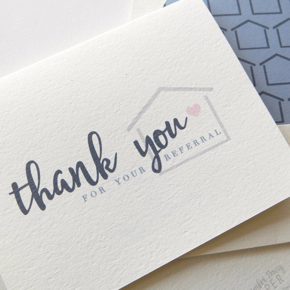 Real Estate Agent Thank You Cards Real Estate Referral Card Realtor Thank You For Your Referral Businessthankyoucards Real Est Agent Immobilier Immobilier