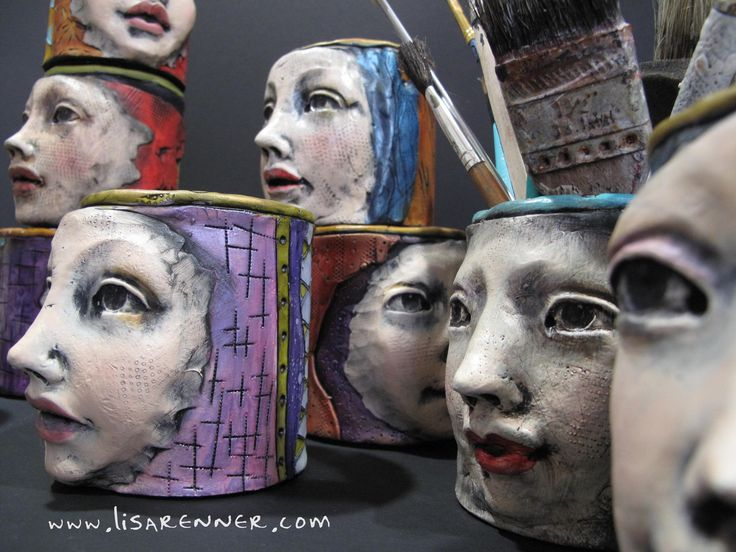 "Polymer Clay-covered tins by Lisa Renner called ""It's All In Her Head"" Art Tool Caddies."