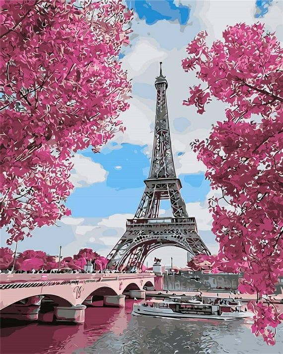 Usa Store Paint By Number Kit Eiffel Tower And Pink Trees Fast Shipping By Ourpaintaddictions Eiffel Tower Photography Springtime In Paris Paris In Spring
