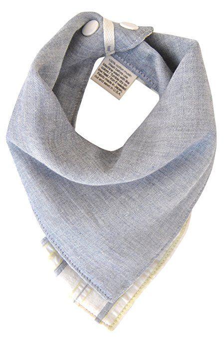 Amazon.com: kishu baby Organic Bandana Bib Reversible Sage Gray Stripe, Multicolor, One Size: Baby