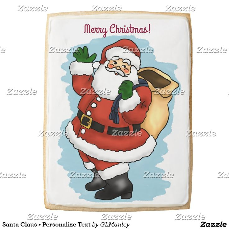 Jumbo Santa Claus Shortbread Cookie • Personalize Text with your own message using the font style, size, and color of your choice • Brought to you by Gina Lee Manley ©gleem