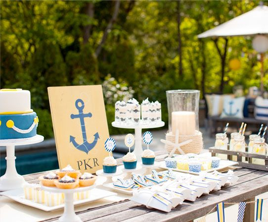 Anchors Away Baby Shower // love the rectangle one color with an anchor and initials.