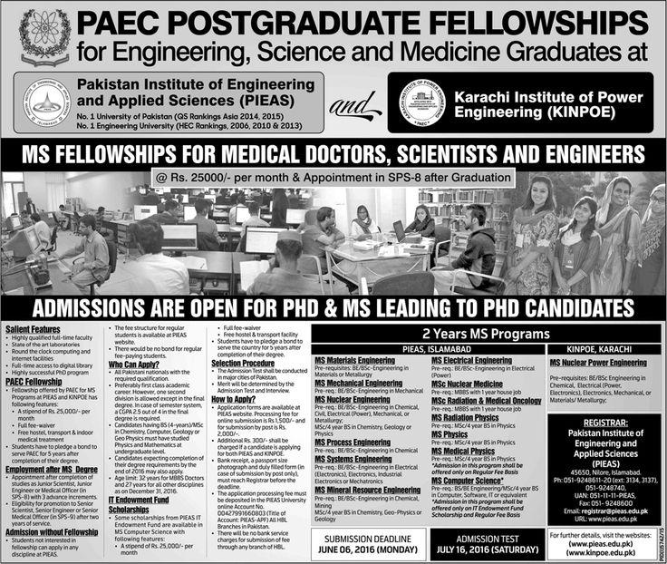 PAEC POSTGRADUATE FELLOWSHIPS Jobs in pakistan