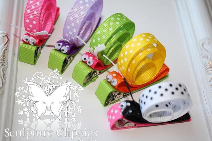Boutique Critter Slug Snail Ribbon by SculptureClippiesNCo on Etsy. $3.75 USD, via Etsy.