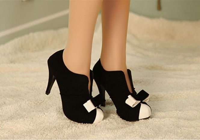 POPULAR WOMEN SEXY HIGH HEEL BLACK+WHITE TIE FASHION ANKLE SHOES FREE SHIPPING